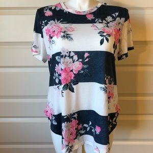 Floral Stripe Top navy and pink
